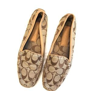 [Coach] Tan Signature Suellen Loafers - Size 7